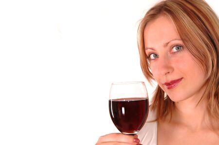 young woman with glass of wine isolated on white photo