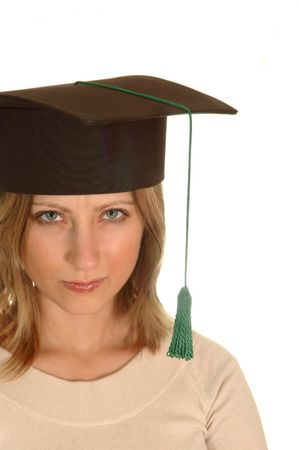 angry young girl with bachelor cap  photo