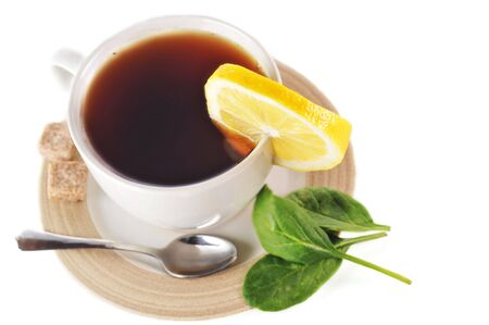full cup of tea with lemon and sugar Stock Photo - 6599743