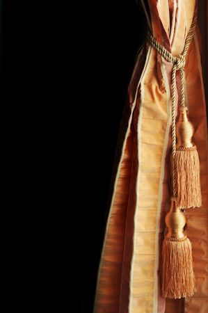 tassels:  Fragment of portiere with  decorative brush