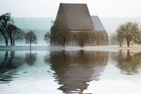 Old misterios Church reflected in water photo