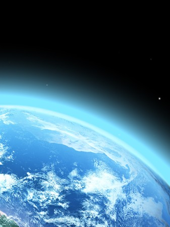 blue earth:  blue  planet earth  in space.