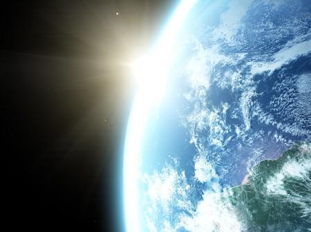 Earth and sun. Space sunrise Stock Photo - 6956843