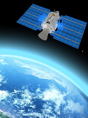blue  planet earth and satelite  in space. photo