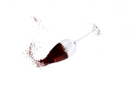 red wine in wineglass isolated photo