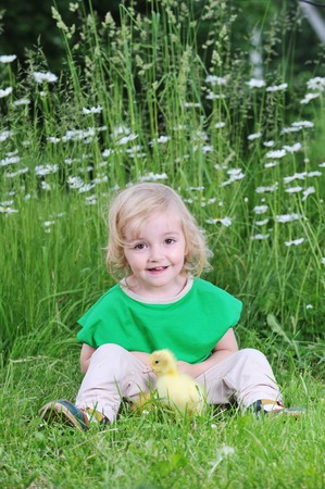 little girl playing with  fluffy duckling in  grass photo