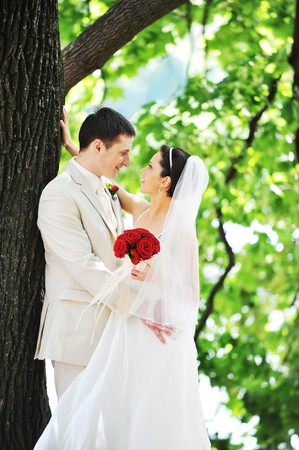 groom and bride in white dress on background of green trees Stock Photo - 7318963