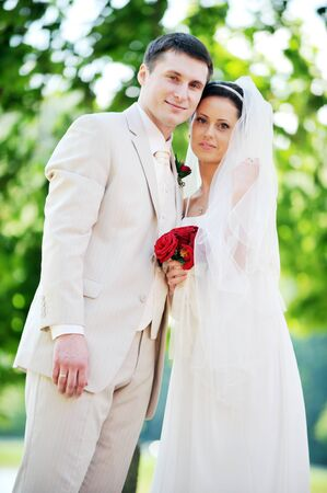 groom and bride in white dress on background of green trees Stock Photo - 7543209