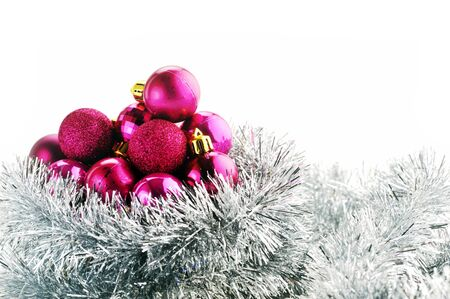 Christmas balls and garland  isolated on  white background  photo