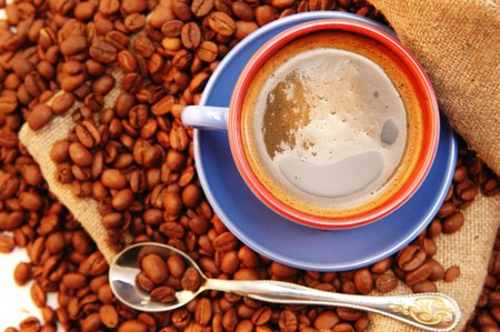 coffee beans cup with coffee old bag and spoon Stock Photo - 7478709