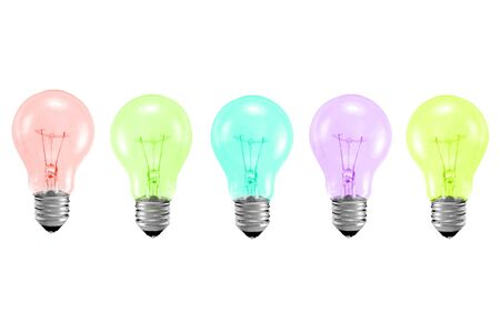 different color light bulbs isolated on white Stock Photo - 7519561