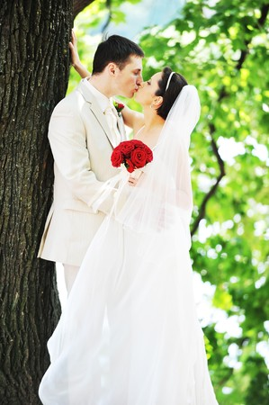 groom and bride in white dress on background of green trees Stock Photo - 7683197