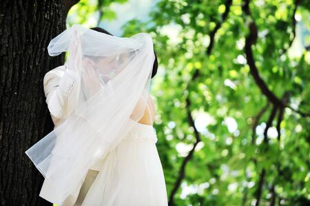 groom and bride in white dress on background of green trees Stock Photo - 7683210