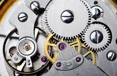 hands in pockets: watch gears very close up Stock Photo