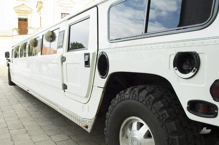 wedding limousine waiting for newlywed