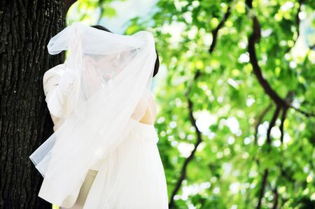 groom and bride in white dress on background of green trees Stock Photo - 7683330