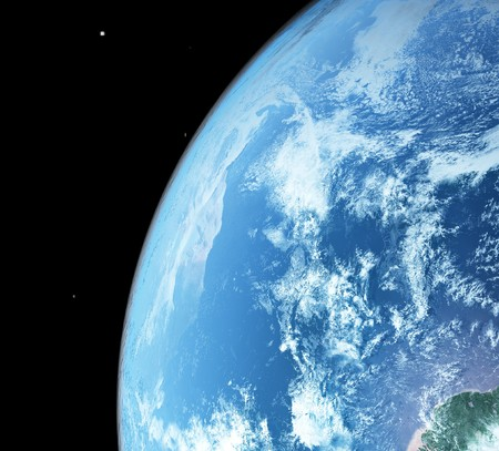 surface:  blue  planet earth  in space.