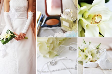 winter flower: collage of wedding pictures Stock Photo