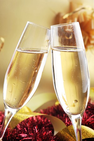two shampagne glasses on celebratory table Stock Photo - 7720401