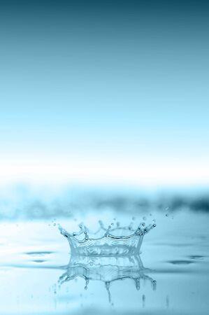 blue water splash close up photo