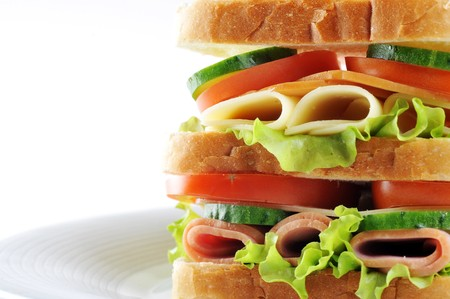 Fresh and tasty sandwich on plate photo