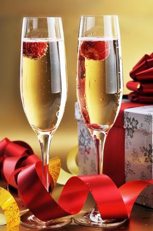 two shampagne glasses on celebratory table Stock Photo - 7778168
