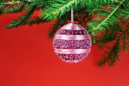 Christmas symbols on red close up Stock Photo - 7778172