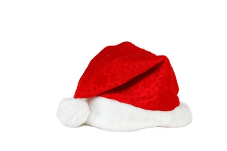 santa suit: Christmas red hat close up