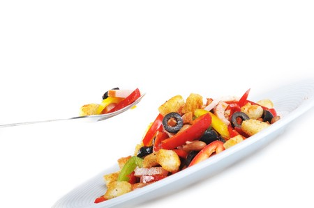 spice Mexican salad with meat on  plate Stock Photo - 7834486
