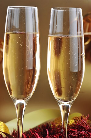 two shampagne glasses on celebratory table Stock Photo - 7936348