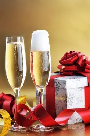 two shampagne glasses on celebratory table Stock Photo - 7936262