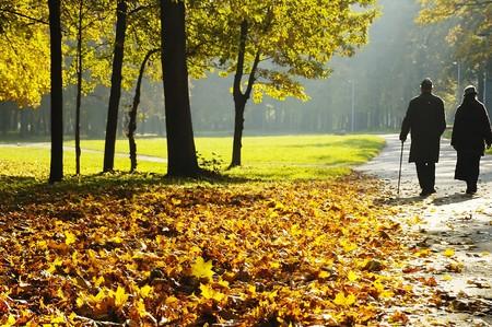pensionistas que caminar en el Parque