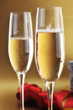 two shampagne glasses on celebratory table Stock Photo - 8178397