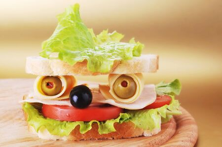 turkey bacon: fresh sandwich looks like face Stock Photo