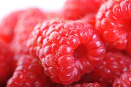 Ripe red raspberries close up