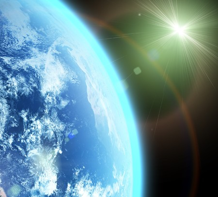 blue  planet earth  in space. Stock Photo - 8282827