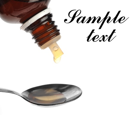 syrup: spoon with medecine close up Stock Photo