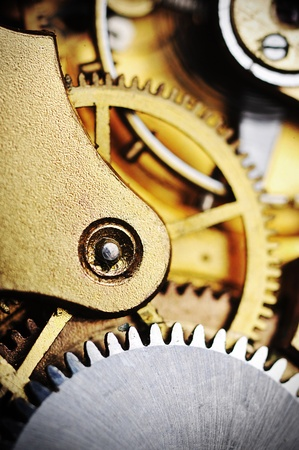 hands in  pocket: watch gears very close up Stock Photo