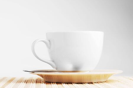 On  wooden napkin cup with tea  photo