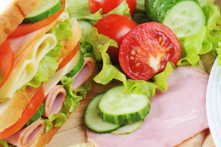 Fresh sandwich and tasty salad  on plate, close up