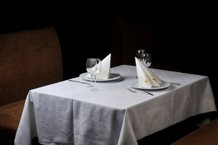 Tables set for  meal in  modern  restaurant Stock Photo - 8614308