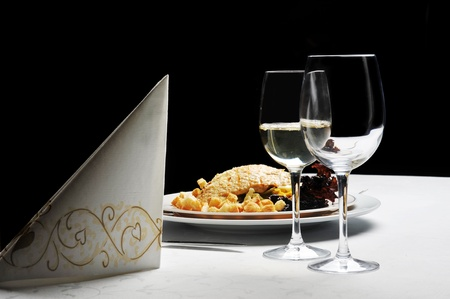 receptions: Tables set for  meal in  modern  restaurant