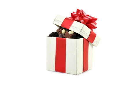 different chocolate in gift box  with copy space photo