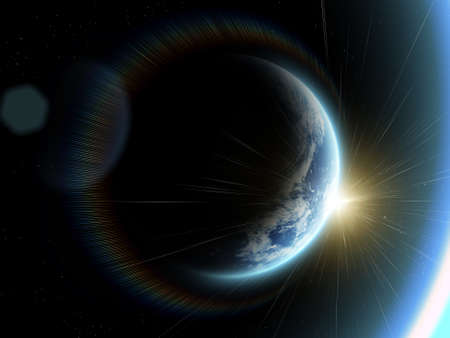 eclipse:  blue  planet earth  in space.