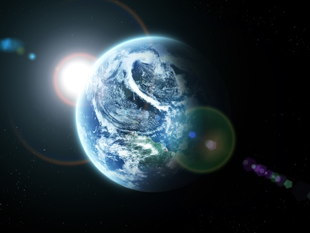stratosphere:  blue  planet earth  in space.