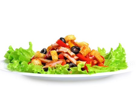 mexican ethnicity: spice Mexican salad with meat on  plate