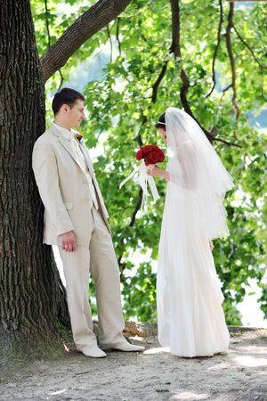 groom and bride in white dress on background of green trees Stock Photo - 8946938