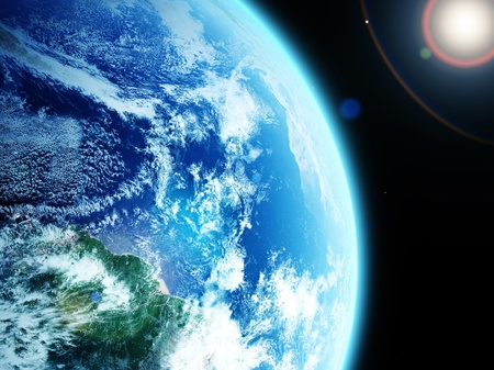 orbiting:  blue  planet earth  in space.