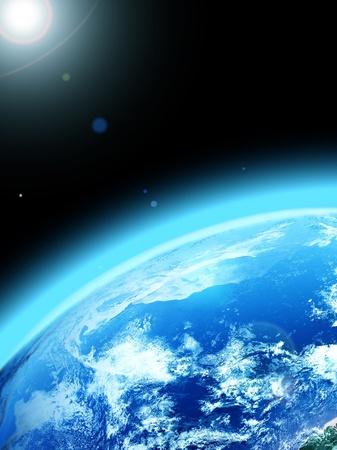 planeta azul en el espacio.