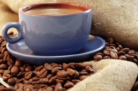 coffee beans cup with coffee old bag and sugar Stock Photo - 8946295